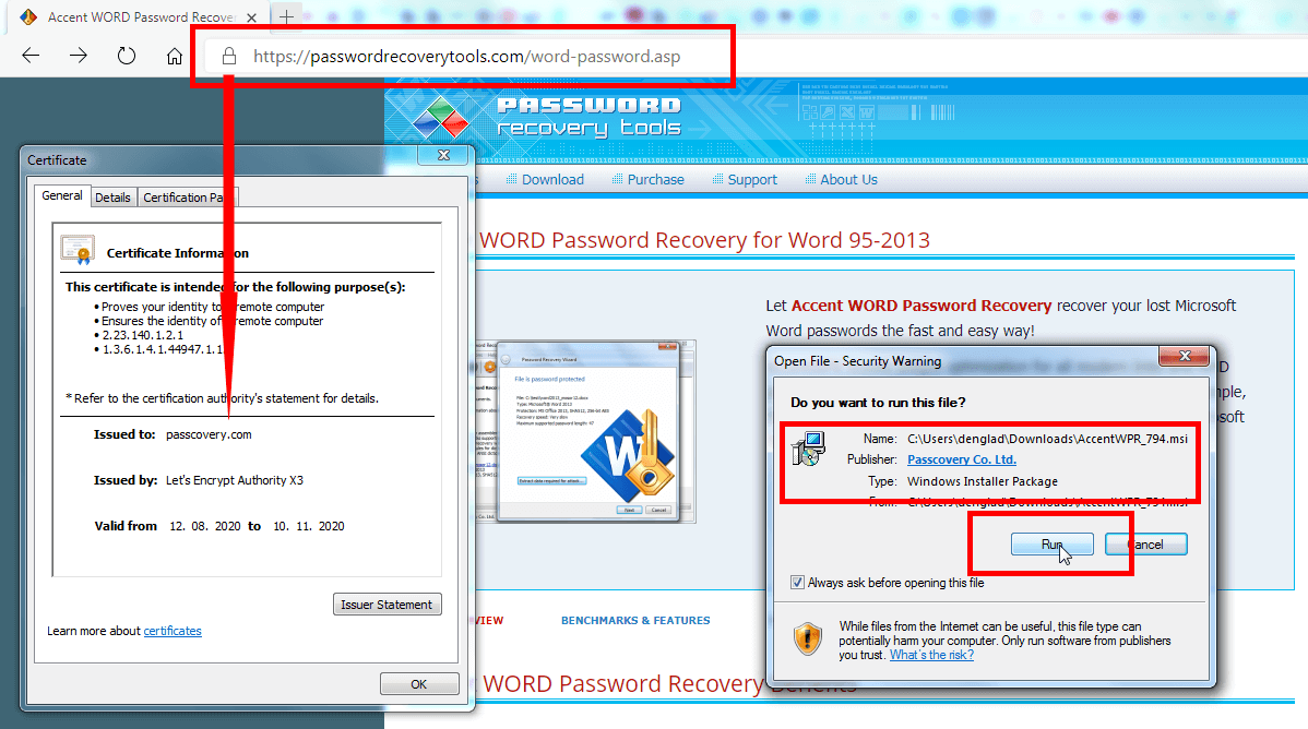 Passcovery certificates cover the company's website and programs
