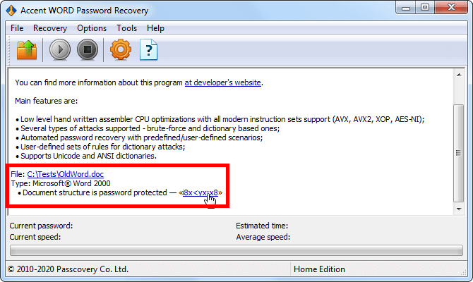 Instant password finding for Word 6-2003