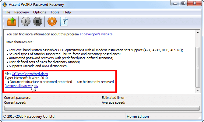 Instant removal of Word 2007-2019 password