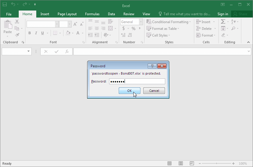 Microsoft Excel 2016-2019. Entering Open Password