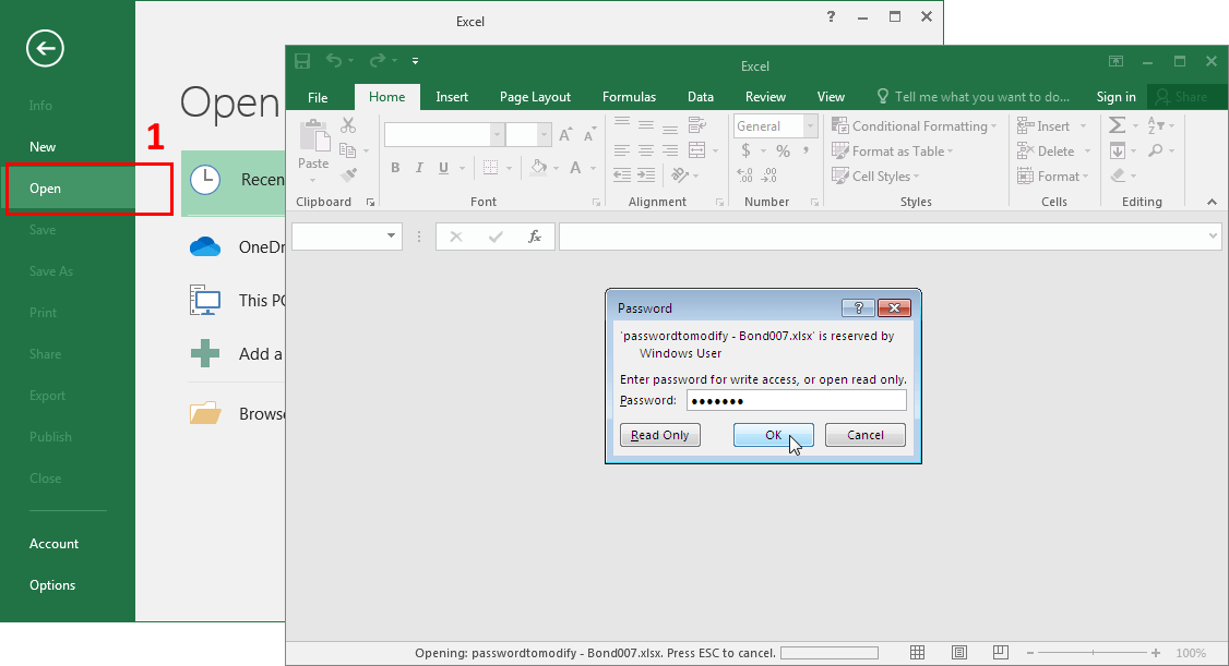 Microsoft Excel 2016-2019. Password to Modify Box
