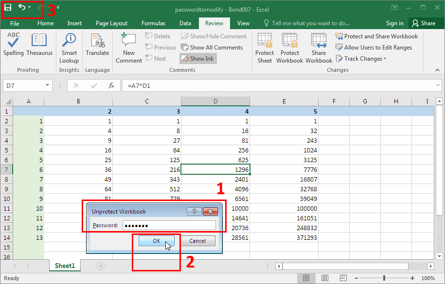 Microsoft Excel 2016-2019. Unlocking a workbook