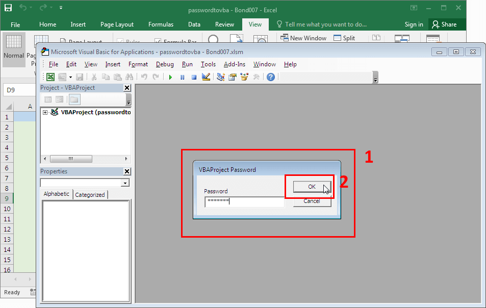 Microsoft Excel 2016-2019. VBA password input box