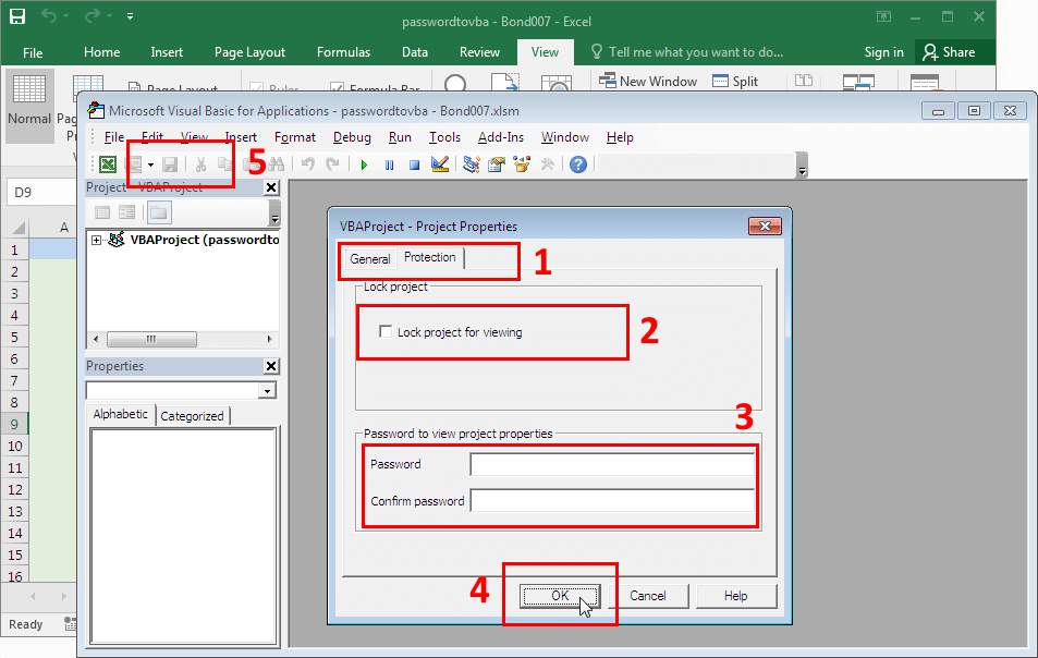 Microsoft Excel 2016-2019. Removing VBA password protection