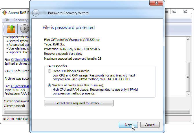 Just start RAR password recovery process with AccentRPR