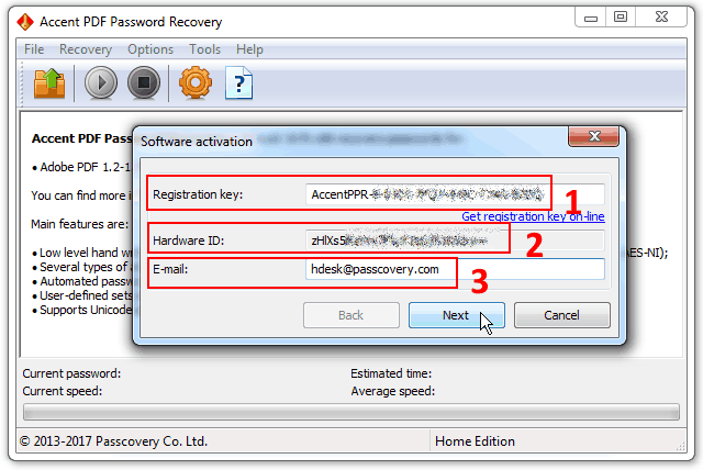 How do I activate a Passcovery's program offline on a computer with