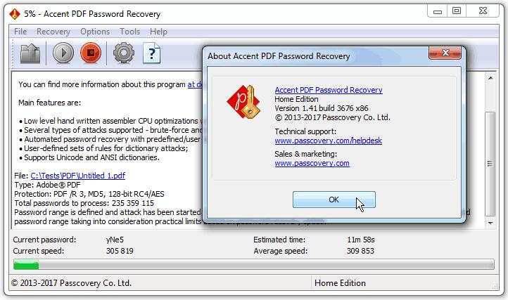 PDF Password Recovery Using GPU | Passcovery, 2019