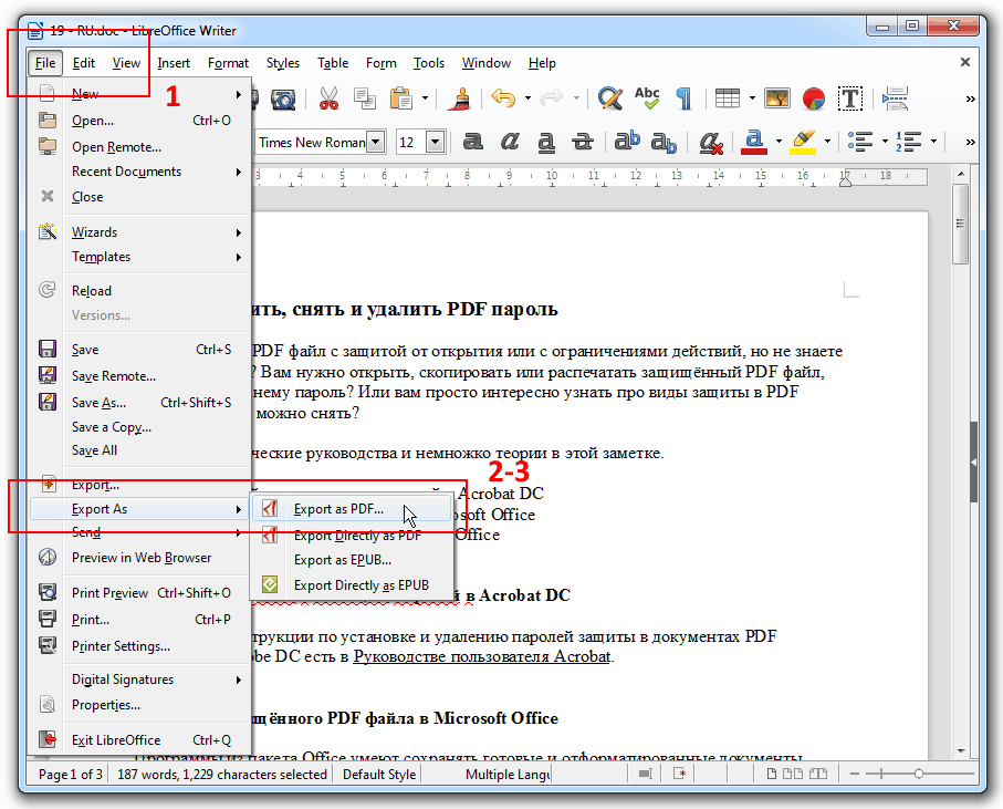 libreoffice remove document protection