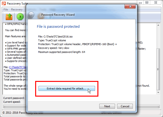 Attack on TrueCrypt password from command-line. Step 5
