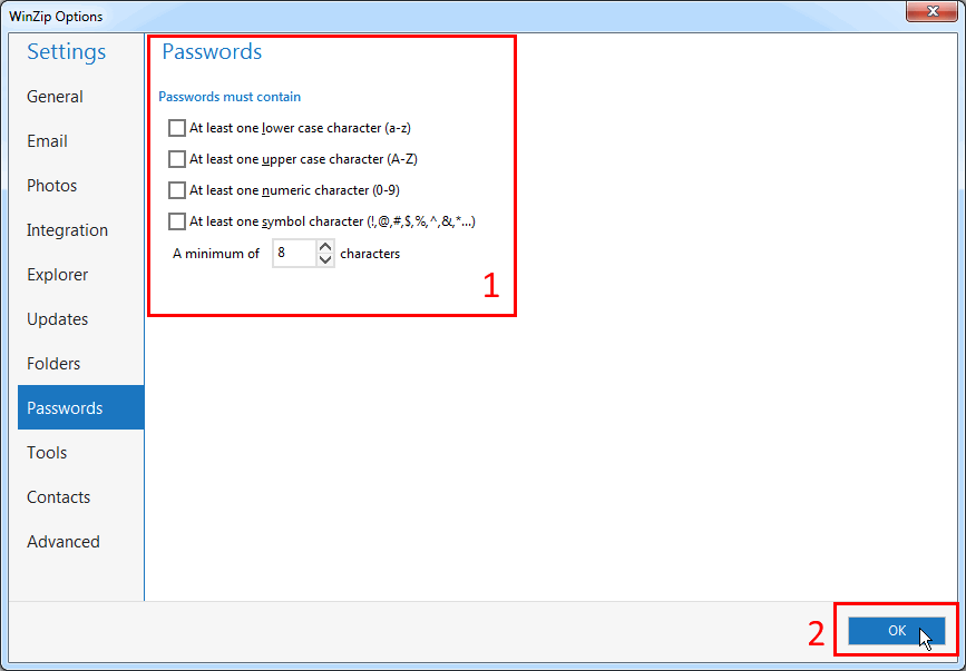 You can edit requirements for WinZip password