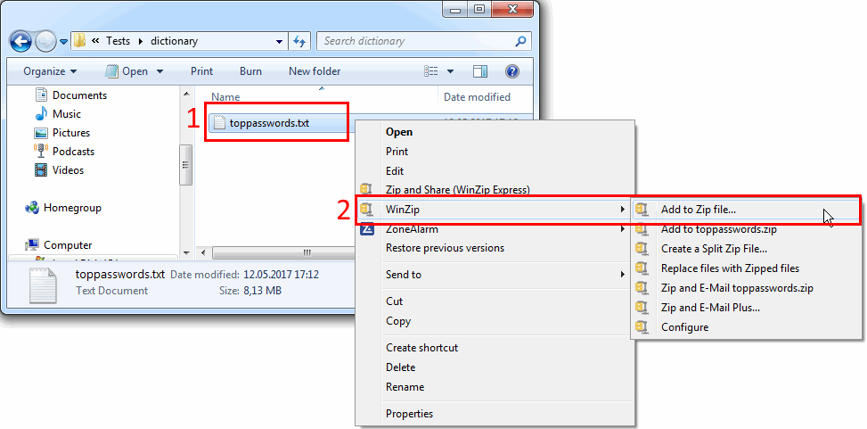 Step 1: Select files to zip and open context menu