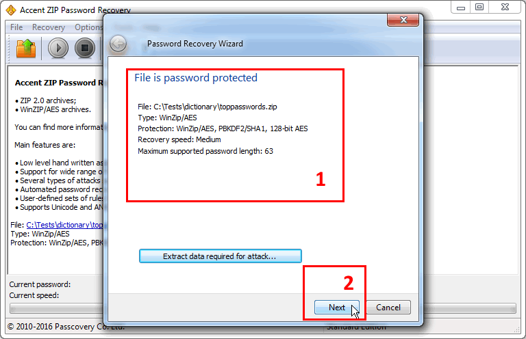Step 2: Review the Zip file protection parameters