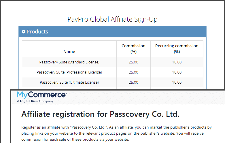 Promote Passcovery for a percentage of sales