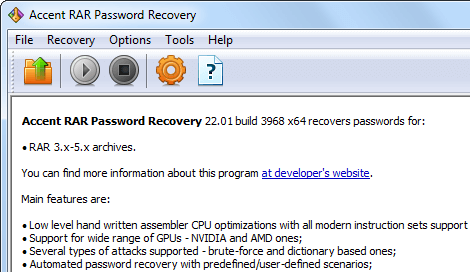 AccentRPR for Recovery of RAR/WinRAR Passwords