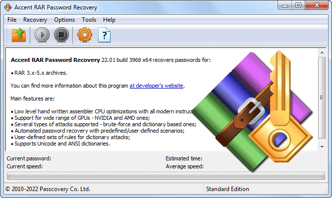 Accent RAR Password Recovery recovers RAR/WinRAR passwords