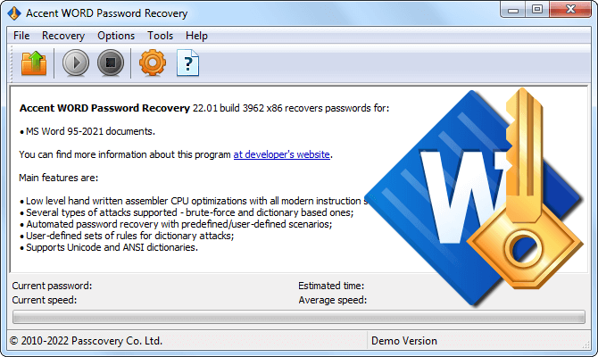 Accent WORD Password Recovery by Пасковери for Word 6-2019